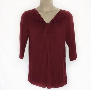 Burgundy Twist Knot Front Tunic NWT